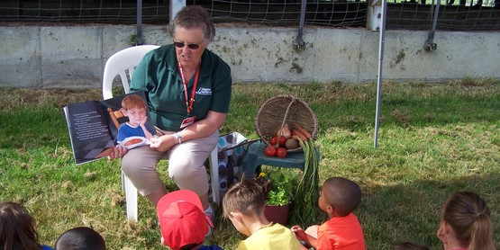Kindergartners visit various learning stations to learn more about farm-to-table and the importance of agriculture.