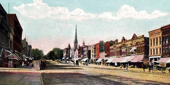 Vintage postcard of Main Street in Canandaigua, looking north, circa 1900-1907.