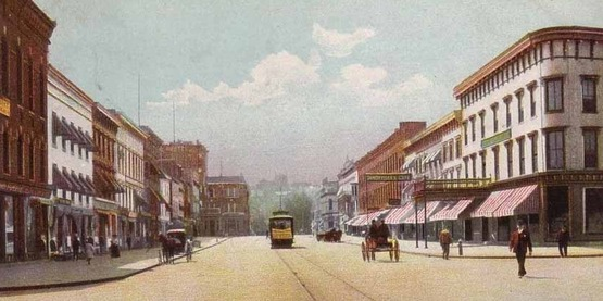 Exchange Street, Geneva c. 1910 from a vintage postcard