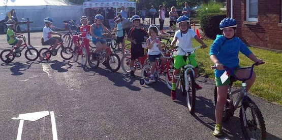 children on bicycles, for Creating Healthy Schools webpage