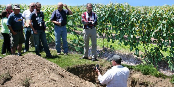 Dr. Terry Bates of the LERGP discusses soil depth and root structure from a soil pit