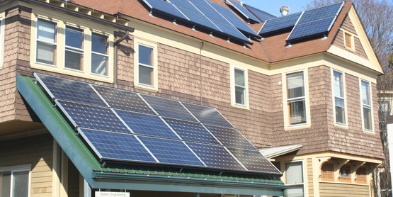 Solar panels on the roof of Taitem Engineering in Ithaca, NY.
