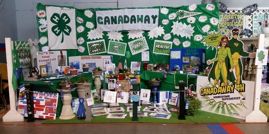 The Canadaway 4-H Club booth at the 2016 County Fair