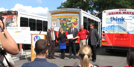 ReThink your drink bus display for Eat Smart New York Dedication ceremony