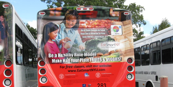 Be A Healthy Role Model bus display for Eat Smart New York