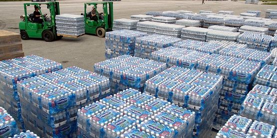 Water is staged at Lakeland for air transport to Ocala in advance of Hurricane Ivan (Sept. 2004)