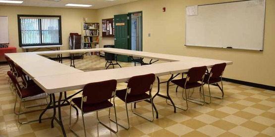 The Curtis Classroom comfortable seats 30-35 people depending upon the table configuration.