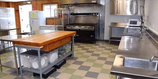 The Trolley Building Kitchen offers a Health Department inspected 24′ x 28′ commercial work space.