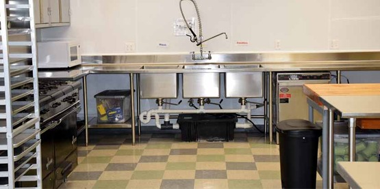 Large 3-piece sink, hand wash sink, and commercial dishwasher