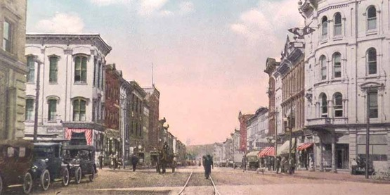 Main Street looking west, Lockport NY c. 1916 from a vintage postcard