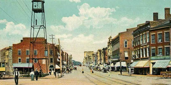 Vintage postcard, circa 1900?  Looking up Main Street in Lockport ny published by Rotograph