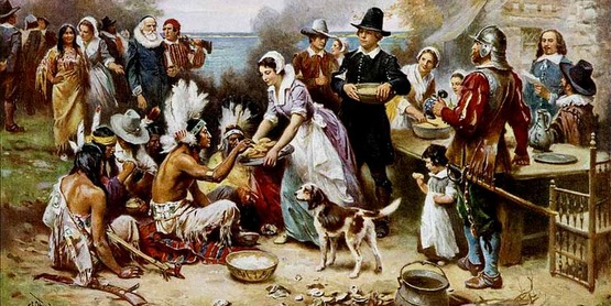 'The First Thanksgiving' by Jean Leon Gerome Ferris (1863–1930), oil on canvas. Postcard published by The Foundation Press, Inc., 1932. Reproduction of oil painting from series: The Pageant of a Nation.
