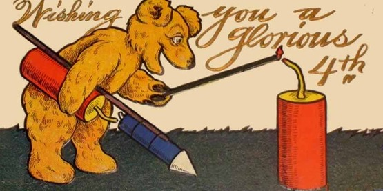 1908 postcard of a bear lighting fireworks on the 4th of July