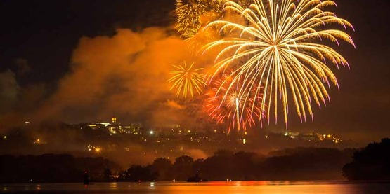 Fireworks over Cornell, Independence Day 2014.
