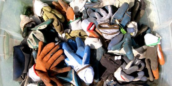 bin of garden gloves