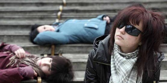 Teenagers on steps