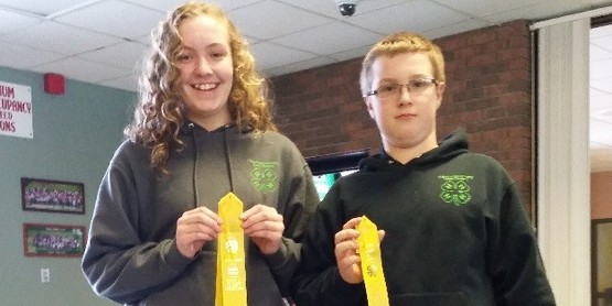 Miranda Nickerson and Cole Nickerson display the ribbons they earned at Dairy Bowl Contest