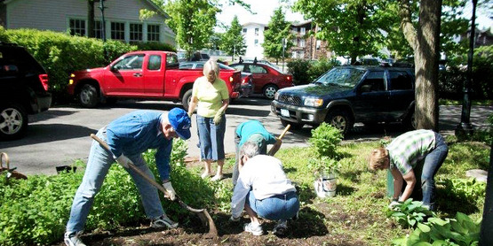Master Gardener volunteers at work.