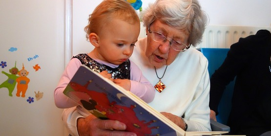 Reading to a young child