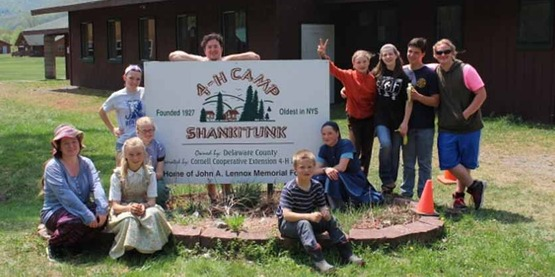 Group of 4-H'ers at Shankitunk Camp, from CCE Columbia Greene website