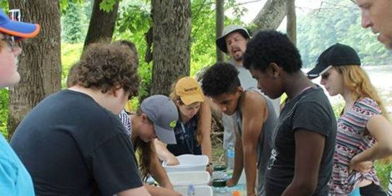 Mentees learning about healthy streams