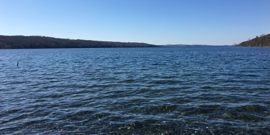 Crystal clear Skaneateles Lake at Lourdes Camp on the east side