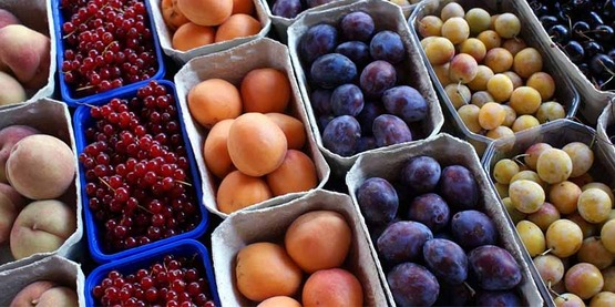 baskets of fruit for sale at a farmers' market, including currants, peaches, plums, cherries, apricots