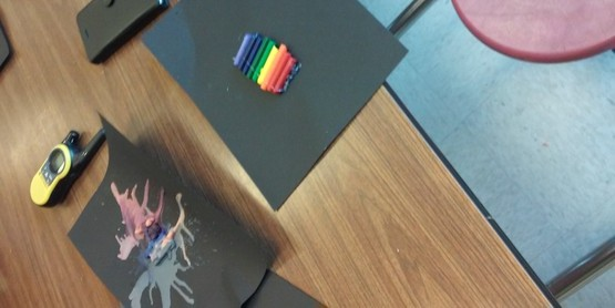 Melting Crayons with a hair dryer to create artwork!