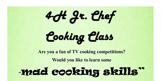 4-H Jr Chef Cooking Class