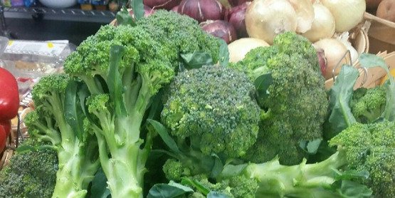 Broccoli donated by the Hudson Valley Farm Hub on display at Florida Community Food Pantry.