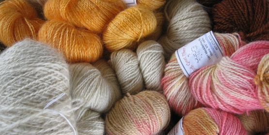 locally produced yarns from Laughing Goat Farm, Tompkins County
