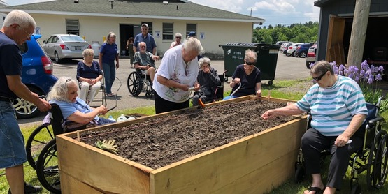 Raised beds for seniors at the Delanson Friendship Cafe at Bishop Scully Hall