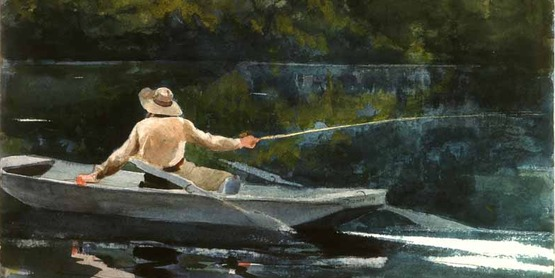 """Casting, Number Two"", 1894, by Winslow Homer (1836-1910)- [Public Domain]"