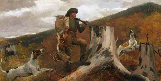 """""""A Huntsman and Dogs"""", 1891, oil on canvas by Winslow Homer (1836–1910) [Public Domain]"""