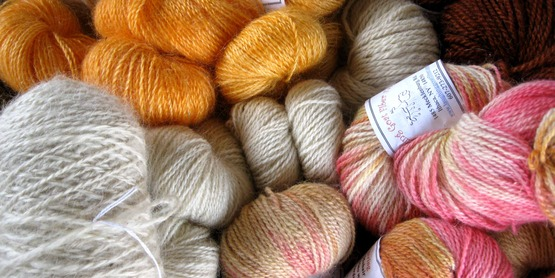 yarns from Laughing Goat Fiber Farm, Enfield NY