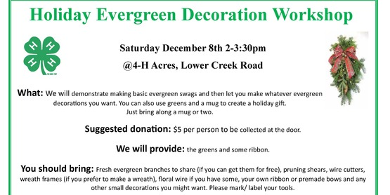 We will demonstrate making basic evergreen swags and then let you make whatever evergreen