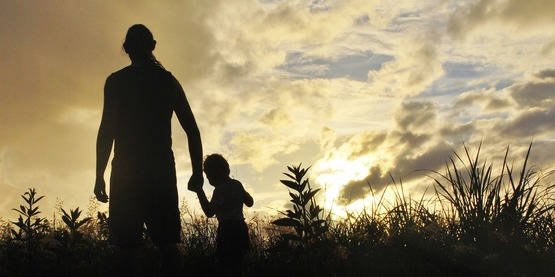 Silhouette man with child on farm stock photo