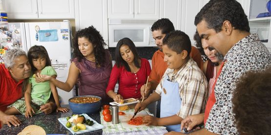 Family preparing meals together