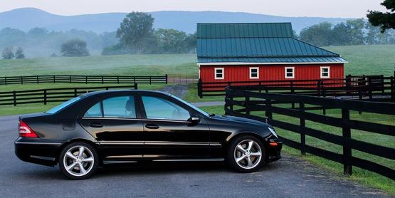 Car on farm stock photo