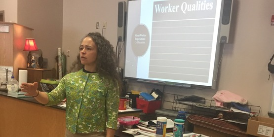 Dra. Fileve Palmer begins the conversation with Allegany youth about job and life skills
