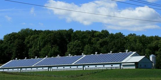 Solar on farm stock photo