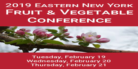 2019 Easter New York Fruit & Vegetable Conference written in text with a picture of a flower underneath, and the following dates listed: 