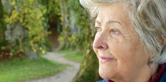 Senior woman outdoors stock photo