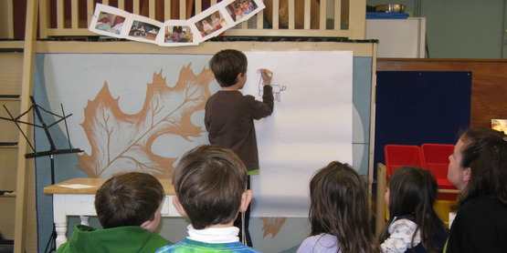 """Jake Paradisin, age 7, shares his public presentation on """"How to Draw a Dragon"""" at a Namaste Friends 4-H Club Meeting , 2010"""