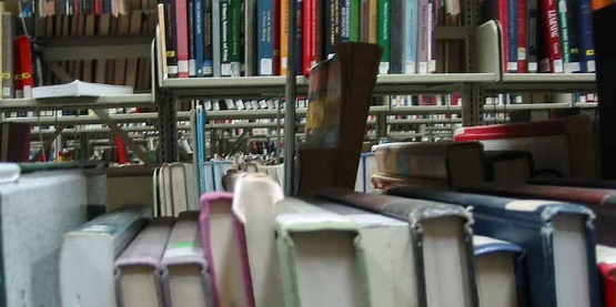 library shelves with books