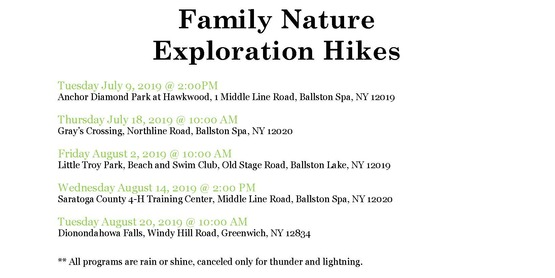 Saratoga County Summer Camp Enrichment Programs and Guided Family Hike Adventures