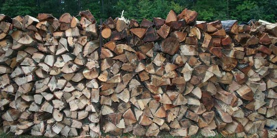 split and stacked firewood