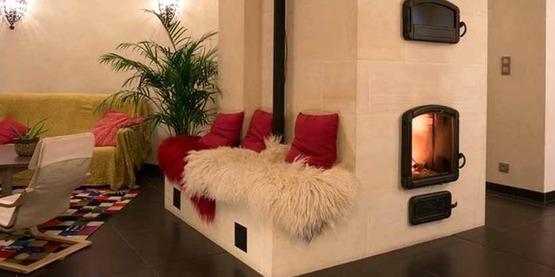 French masonry wood heating stove