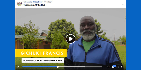 screenshot of facebook video clip re: Tabasamu Afrika video with Gichuki Francis