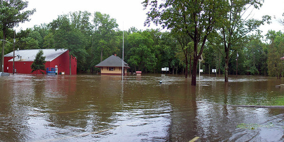 Flooding of Wooster Memorial Grove Park, Walden, NY after Hurricane Irene,